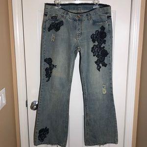 X2 DISTRESSED LACE & denim flare jeans W31